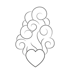 Heart with smoke lineart vector image