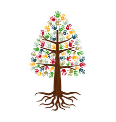 pine tree with hand print art diverse people sign vector image vector image