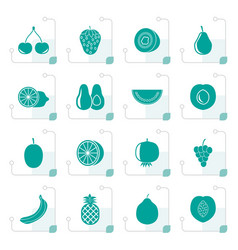 stylized different kind of fruit and icons vector image vector image
