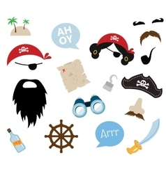 A colorful Theme of Pirate equipments vector image