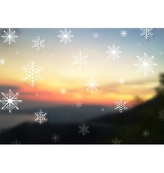 Abstract snowflakes on blurred sunset vector image vector image