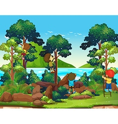 Children climbing up the tree vector image vector image
