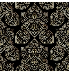 Ethnic seamless pattern in gold and black colors vector image
