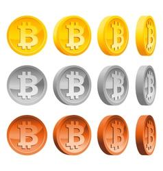 Set of Bitcoins vector image vector image