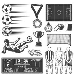 Soccer Monochrome Elements Set vector image