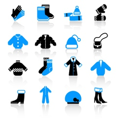 winter clothes icons vector image vector image