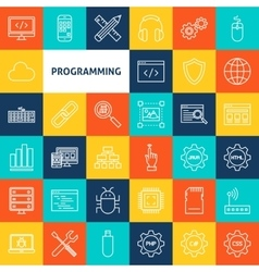 Line Programming Icons vector image vector image