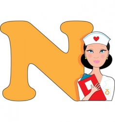 N is for nurse vector image vector image