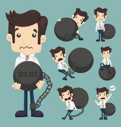 Set of businessman burden with Debt vector image vector image