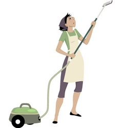 Woman with a vacuum cleaner vector image vector image