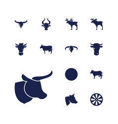 13 bull icons vector
