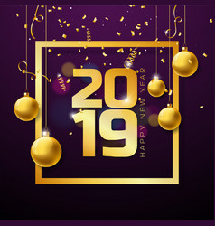 2019 happy new year with gold number vector