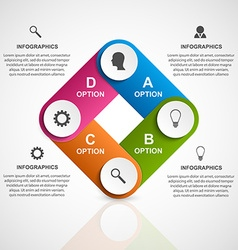 Abstract 3D business options infographics template vector image