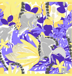 abstract pattern of the wild lemurs sitting vector image