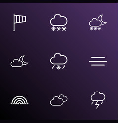 Air icons line style set with snowfall moonshine vector
