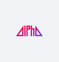 alpha minimal logo design vector image