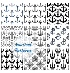 Anchor and compasses nautical seamless pattern set vector