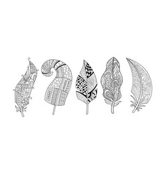 artistically drawn feathers set black and white vector image