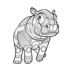 baby hippopotamus black white hand drawn coloring vector image