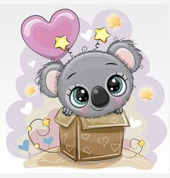 Birthday card cute koala and balloon vector