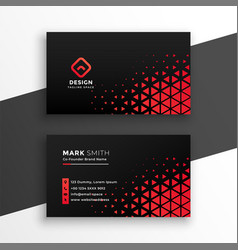 Black business card with red triangle shapes vector