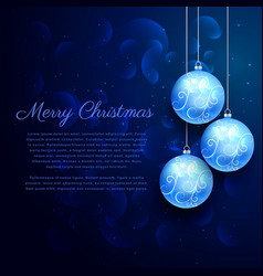 blue background with shiny hanging christmas balls vector image