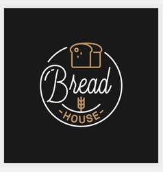 bread shop logo round linear bread house vector image