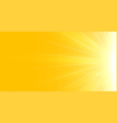 Bright yellow background with glowing rays light vector