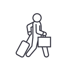 business traveler walks linear icon sign symbol vector image