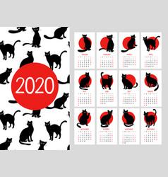 Calendar 2020 cute black cats vector
