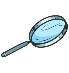 Cartoon blue magnifying glass icon vector