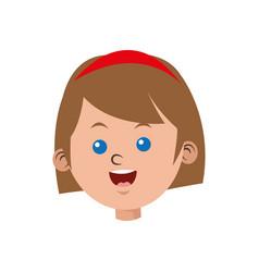Cartoon face girl funny student vector