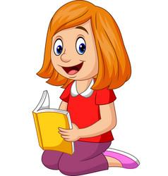 cartoon happy girl reading a book vector image