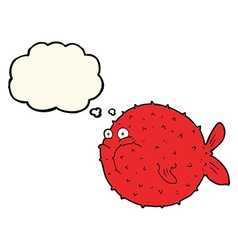 Cartoon puffer fish with thought bubble vector