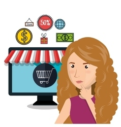 cartoon woman e-commerce store isolated design vector image