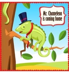 Chameleon cartoon funny animal vector