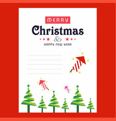 Christmas invitation card with tree abd red vector