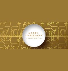 christmas new year gold outline reindeer banner vector image