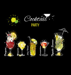 Cocktail party set template for vector