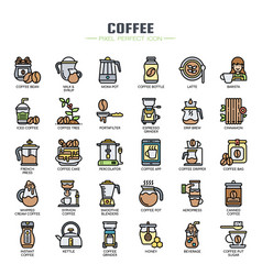 Coffee elements thin line and pixel perfect icons vector