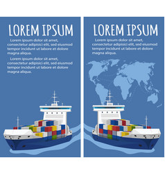 commercial sea shipping flyer template set vector image