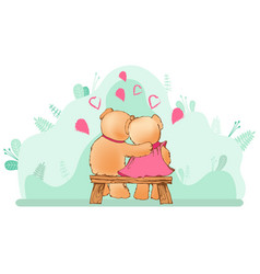 couple teddy bears on bench hugging vector image