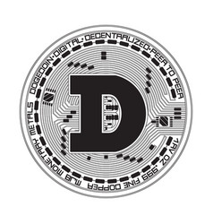 Crypto currency dogecoin black and white symbol vector