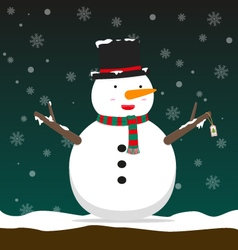 Cute big fat snowman wear hat and scarf vector