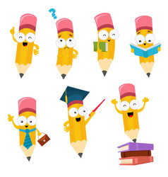 Cute cartoon pencil characters set vector