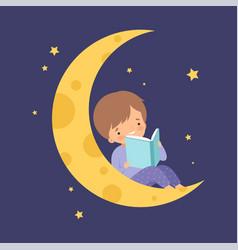 Cute little boy sitting on moon at night sky vector