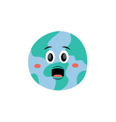 cute screaming with open mouth earth planet vector image