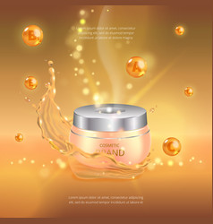 Digital gold oil essence mockup on with vector