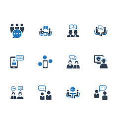 Discussion icons - blue version vector
