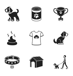 Dog equipment set icons in black style Big vector